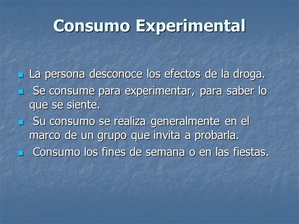Consumo Experimental La persona desconoce los efectos de la droga. La persona desconoce los efectos de la droga. Se consume para experimentar, para sa