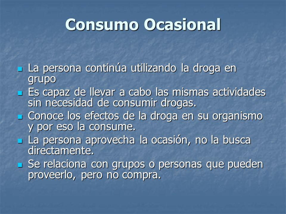 Consumo Ocasional La persona continúa utilizando la droga en grupo La persona continúa utilizando la droga en grupo Es capaz de llevar a cabo las mism