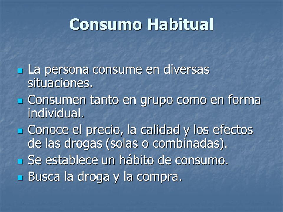 Consumo Habitual La persona consume en diversas situaciones. La persona consume en diversas situaciones. Consumen tanto en grupo como en forma individ