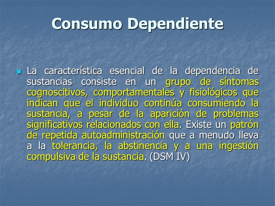 Consumo Dependiente La característica esencial de la dependencia de sustancias consiste en un grupo de síntomas cognoscitivos, comportamentales y fisi