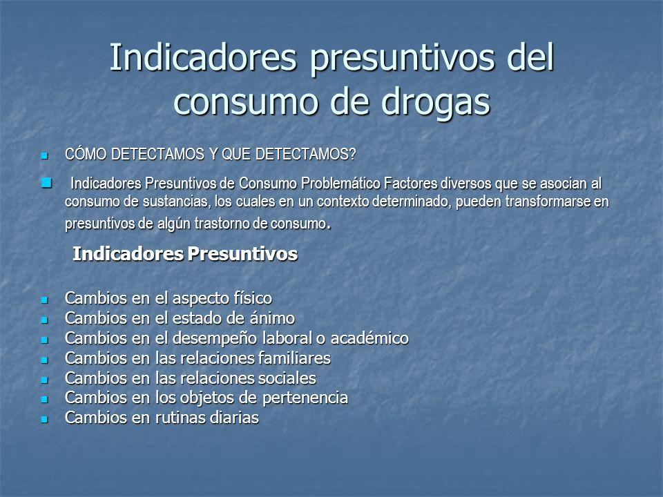 Indicadores presuntivos del consumo de drogas CÓMO DETECTAMOS Y QUE DETECTAMOS? CÓMO DETECTAMOS Y QUE DETECTAMOS? Indicadores Presuntivos de Consumo P