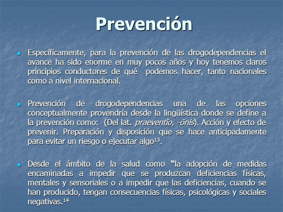 Prevención Específicamente, para la prevención de las drogodependencias el avance ha sido enorme en muy pocos años y hoy tenemos claros principios con
