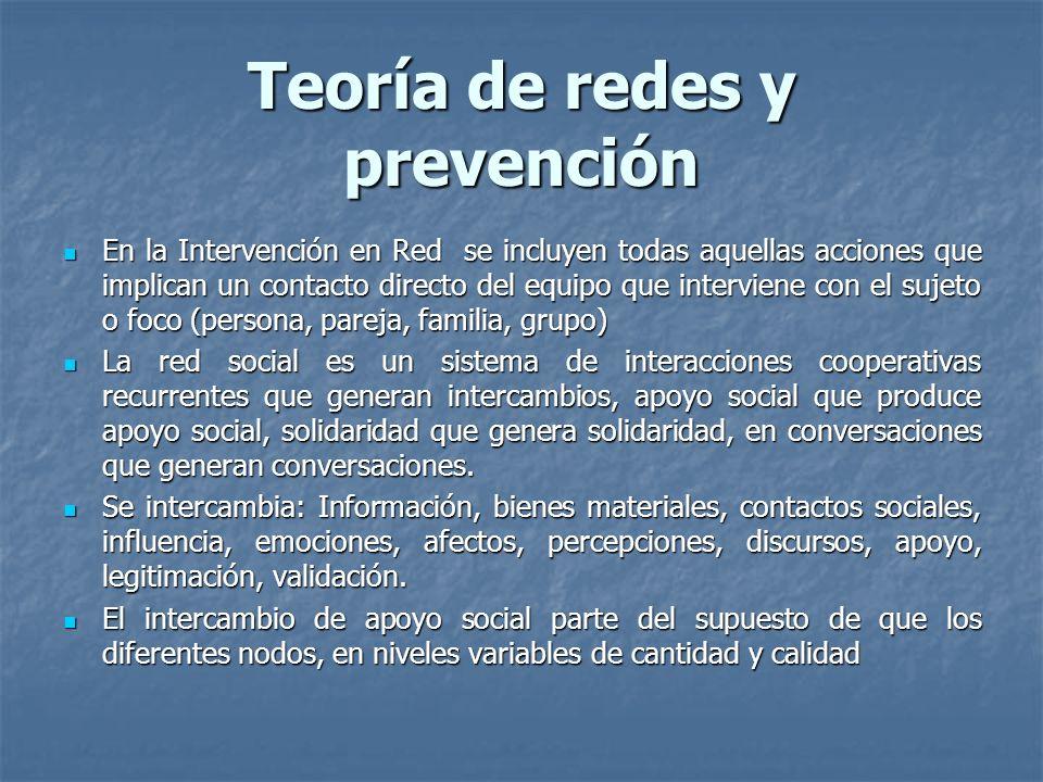 Teoría de redes y prevención Teoría de redes y prevención En la Intervención en Red se incluyen todas aquellas acciones que implican un contacto direc