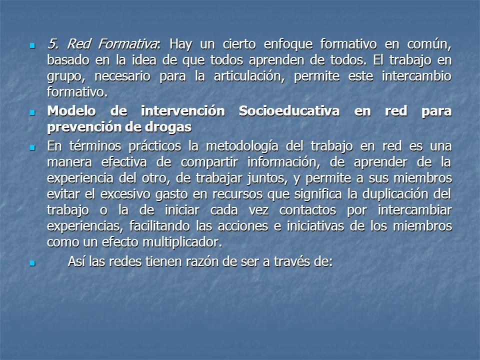 5. Red Formativa: Hay un cierto enfoque formativo en común, basado en la idea de que todos aprenden de todos. El trabajo en grupo, necesario para la a