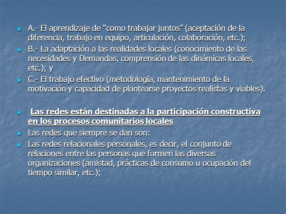 A.- El aprendizaje de como trabajar juntos (aceptación de la diferencia, trabajo en equipo, articulación, colaboración, etc.); A.- El aprendizaje de c