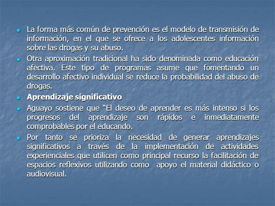 La forma más común de prevención es el modelo de transmisión de información, en el que se ofrece a los adolescentes información sobre las drogas y su