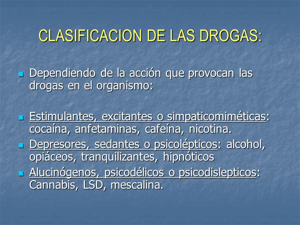 CLASIFICACION DE LAS DROGAS: Dependiendo de la acción que provocan las drogas en el organismo: Estimulantes, excitantes o simpaticomiméticas: cocaína,
