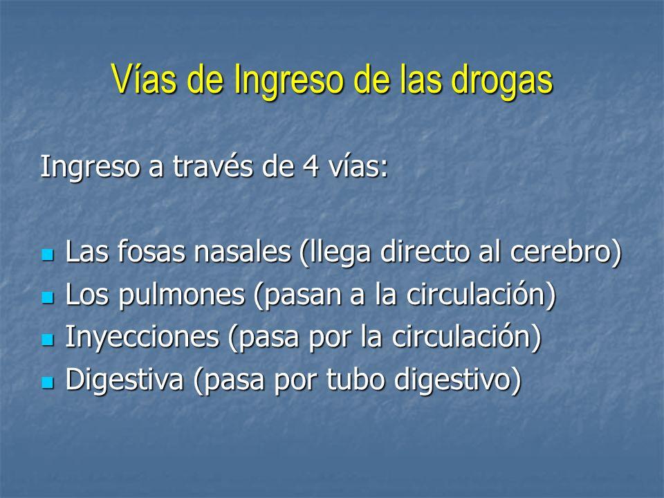 Vías de Ingreso de las drogas Ingreso a través de 4 vías: Las fosas nasales (llega directo al cerebro) Los pulmones (pasan a la circulación) Inyeccion