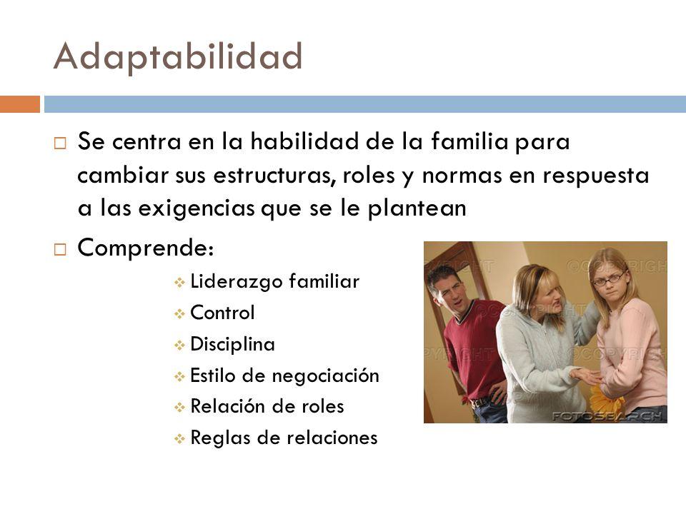 Adaptabilidad Se centra en la habilidad de la familia para cambiar sus estructuras, roles y normas en respuesta a las exigencias que se le plantean Co