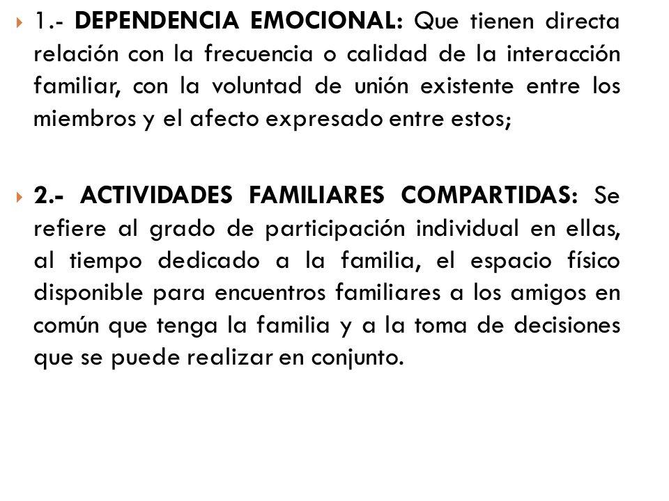 1.- DEPENDENCIA EMOCIONAL: Que tienen directa relación con la frecuencia o calidad de la interacción familiar, con la voluntad de unión existente entr