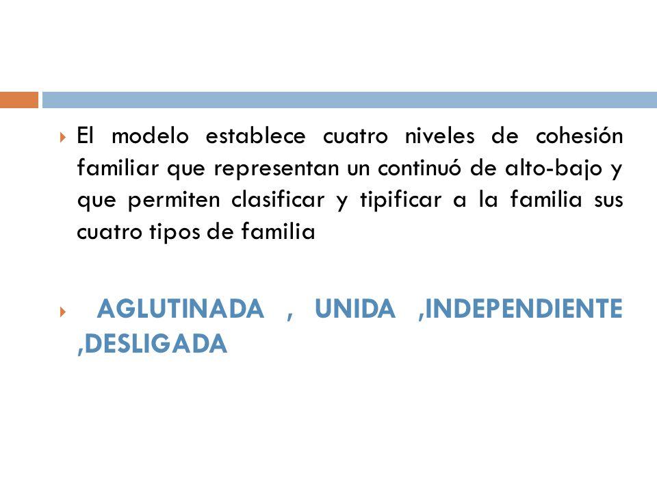 El modelo establece cuatro niveles de cohesión familiar que representan un continuó de alto-bajo y que permiten clasificar y tipificar a la familia su