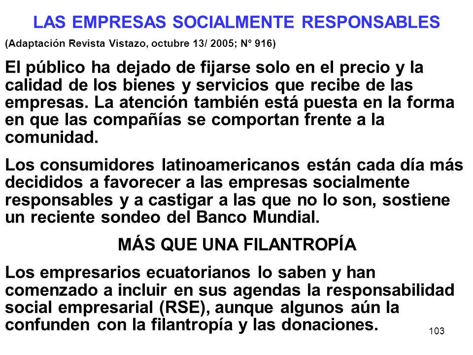 103 LAS EMPRESAS SOCIALMENTE RESPONSABLES (Adaptación Revista Vistazo, octubre 13/ 2005; N° 916) El público ha dejado de fijarse solo en el precio y l