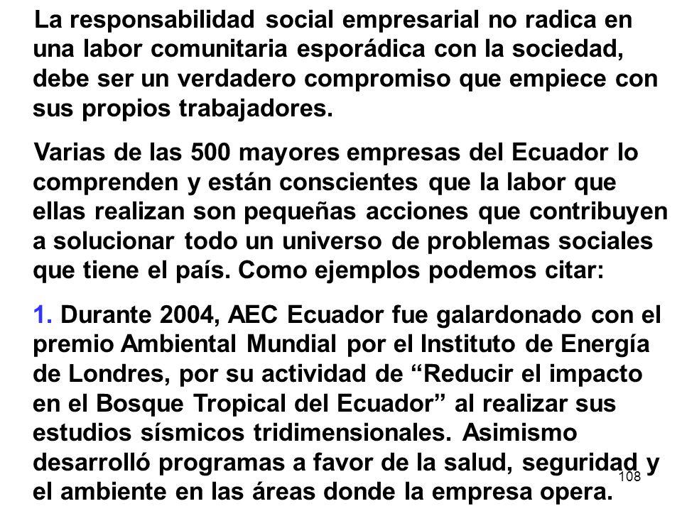 108 La responsabilidad social empresarial no radica en una labor comunitaria esporádica con la sociedad, debe ser un verdadero compromiso que empiece