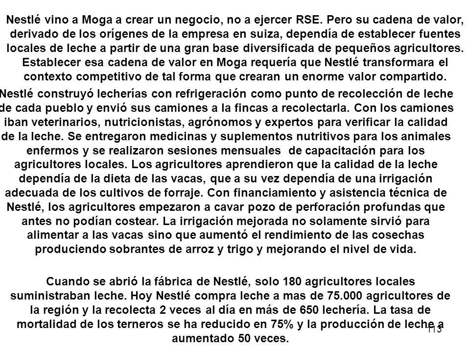 113 Nestlé vino a Moga a crear un negocio, no a ejercer RSE. Pero su cadena de valor, derivado de los orígenes de la empresa en suiza, dependía de est