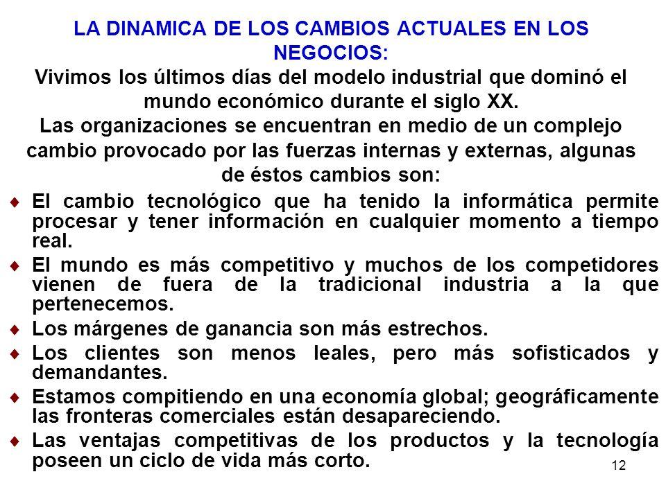 12 LA DINAMICA DE LOS CAMBIOS ACTUALES EN LOS NEGOCIOS: Vivimos los últimos días del modelo industrial que dominó el mundo económico durante el siglo