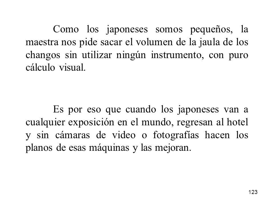123 Como los japoneses somos pequeños, la maestra nos pide sacar el volumen de la jaula de los changos sin utilizar ningún instrumento, con puro cálcu