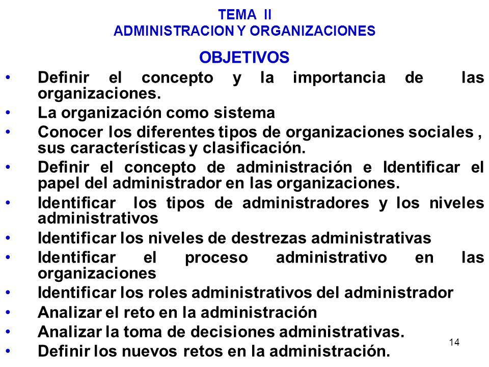 14 TEMA II ADMINISTRACION Y ORGANIZACIONES OBJETIVOS Definir el concepto y la importancia de las organizaciones. La organización como sistema Conocer