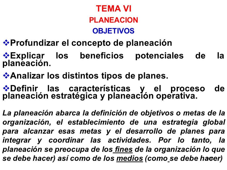 146 TEMA VI PLANEACION OBJETIVOS Profundizar el concepto de planeación Explicar los beneficios potenciales de la planeación. Analizar los distintos ti