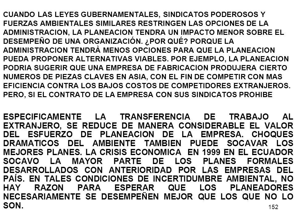 152 CUANDO LAS LEYES GUBERNAMENTALES, SINDICATOS PODEROSOS Y FUERZAS AMBIENTALES SIMILARES RESTRINGEN LAS OPCIONES DE LA ADMINISTRACION, LA PLANEACION