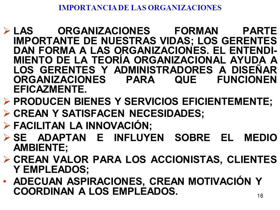 16 IMPORTANCIA DE LAS ORGANIZACIONES LAS ORGANIZACIONES FORMAN PARTE IMPORTANTE DE NUESTRAS VIDAS; LOS GERENTES DAN FORMA A LAS ORGANIZACIONES. EL ENT