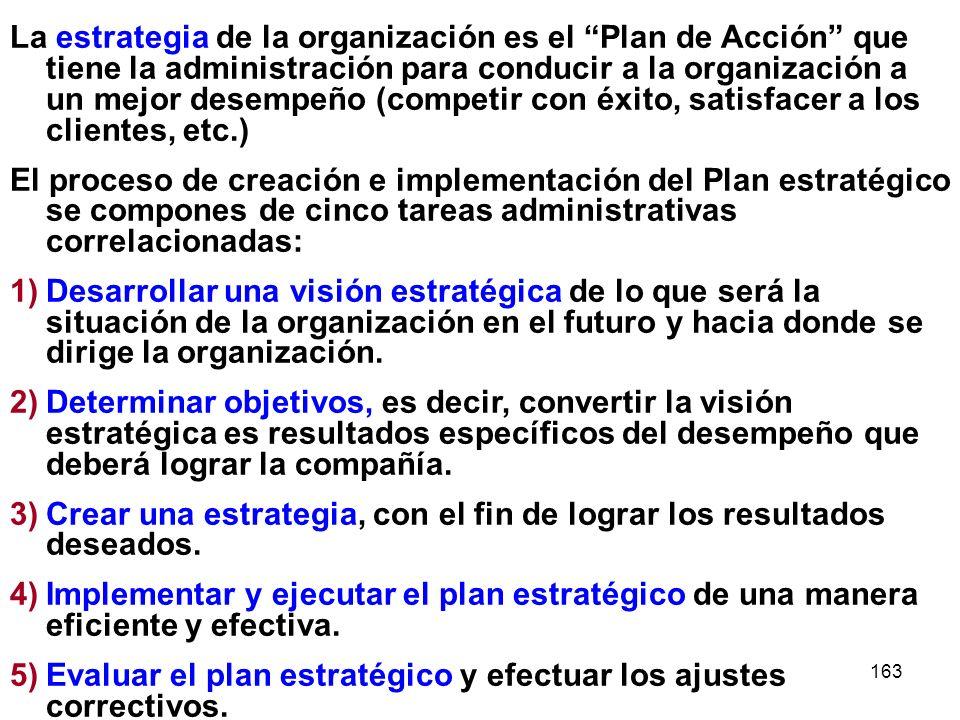 163 La estrategia de la organización es el Plan de Acción que tiene la administración para conducir a la organización a un mejor desempeño (competir c