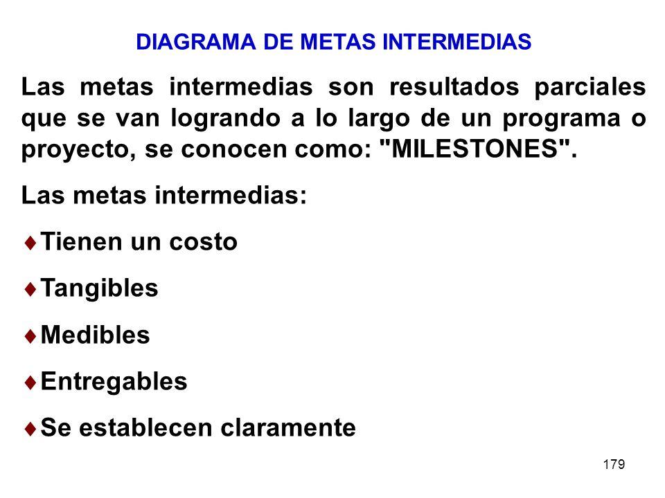 179 DIAGRAMA DE METAS INTERMEDIAS Las metas intermedias son resultados parciales que se van logrando a lo largo de un programa o proyecto, se conocen