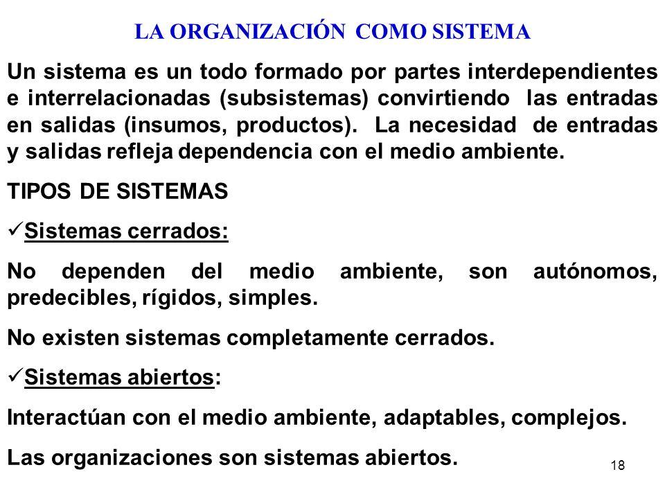 18 LA ORGANIZACIÓN COMO SISTEMA Un sistema es un todo formado por partes interdependientes e interrelacionadas (subsistemas) convirtiendo las entradas