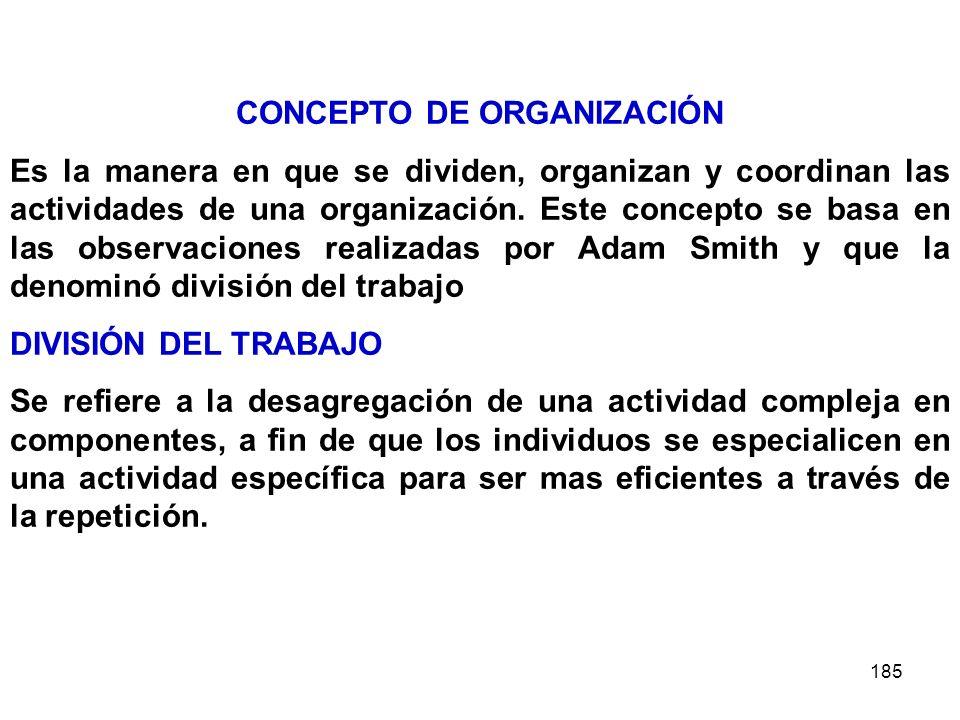 185 CONCEPTO DE ORGANIZACIÓN Es la manera en que se dividen, organizan y coordinan las actividades de una organización. Este concepto se basa en las o