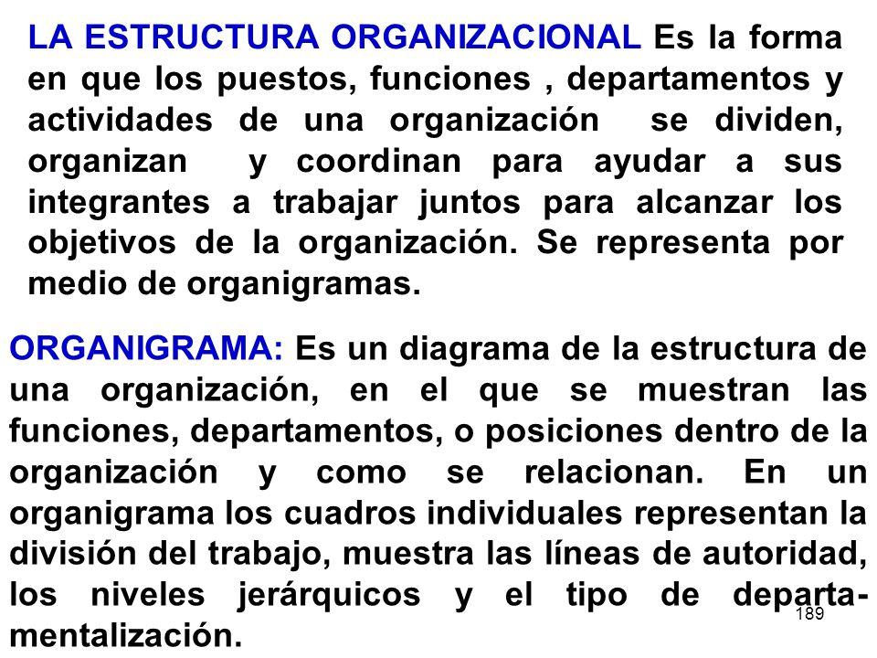 189 LA ESTRUCTURA ORGANIZACIONAL Es la forma en que los puestos, funciones, departamentos y actividades de una organización se dividen, organizan y co