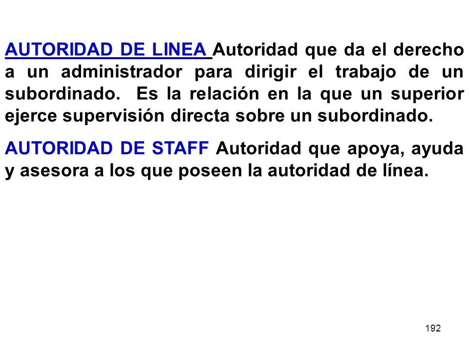 192 AUTORIDAD DE LINEA Autoridad que da el derecho a un administrador para dirigir el trabajo de un subordinado. Es la relación en la que un superior