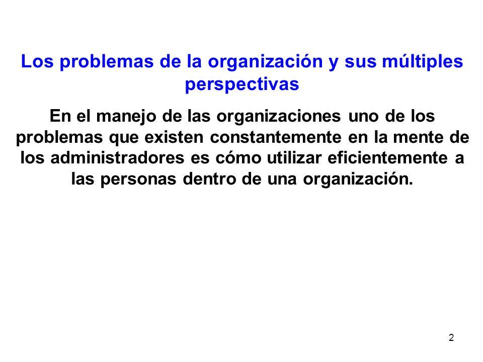2 Los problemas de la organización y sus múltiples perspectivas En el manejo de las organizaciones uno de los problemas que existen constantemente en