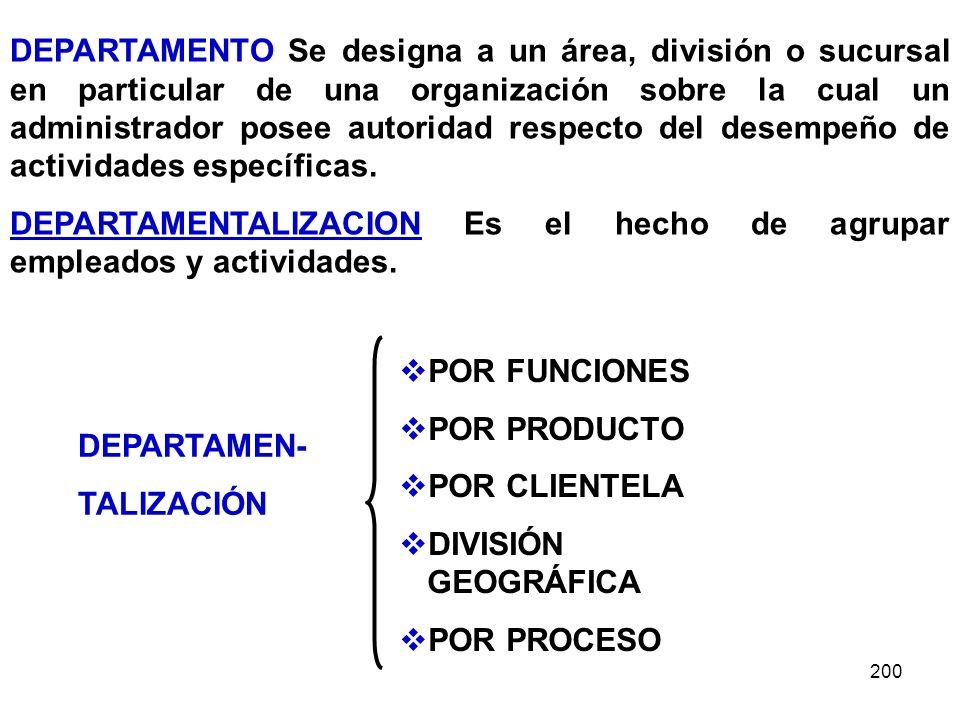 200 DEPARTAMENTO Se designa a un área, división o sucursal en particular de una organización sobre la cual un administrador posee autoridad respecto d