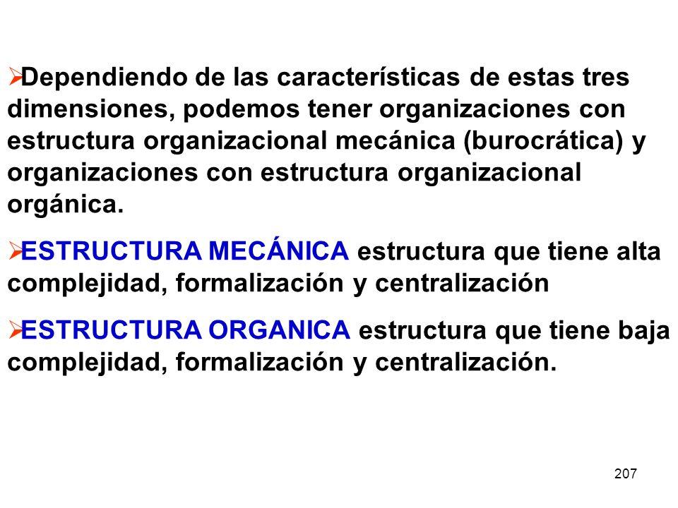 207 Dependiendo de las características de estas tres dimensiones, podemos tener organizaciones con estructura organizacional mecánica (burocrática) y