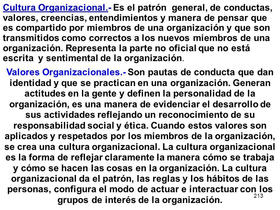 213 Cultura Organizacional.- Es el patrón general, de conductas, valores, creencias, entendimientos y manera de pensar que es compartido por miembros