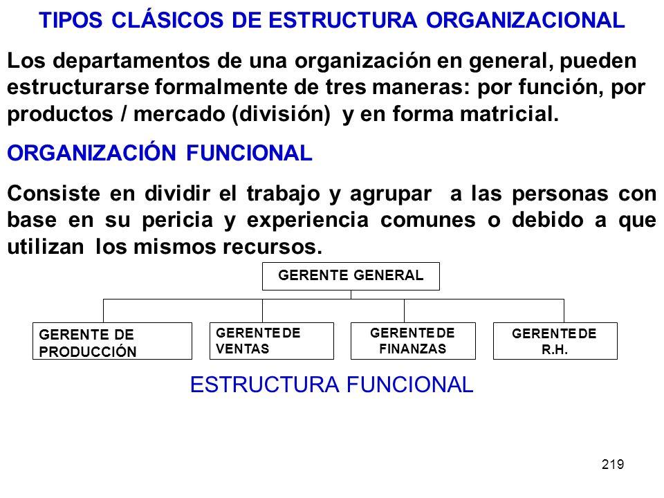 219 TIPOS CLÁSICOS DE ESTRUCTURA ORGANIZACIONAL Los departamentos de una organización en general, pueden estructurarse formalmente de tres maneras: po