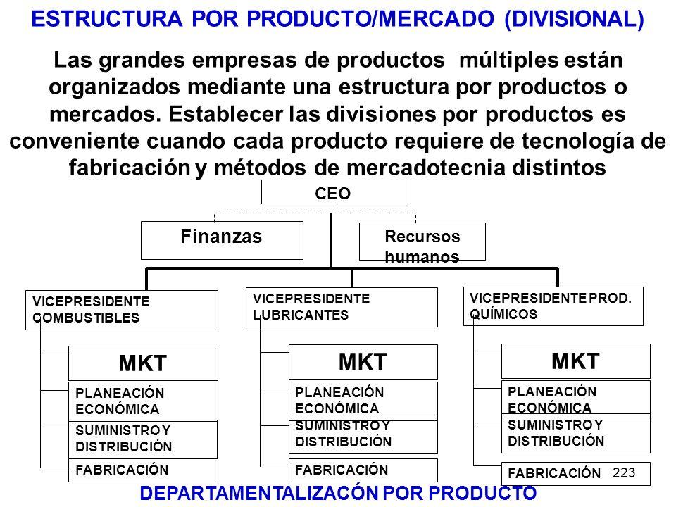 223 ESTRUCTURA POR PRODUCTO/MERCADO (DIVISIONAL) Las grandes empresas de productos múltiples están organizados mediante una estructura por productos o