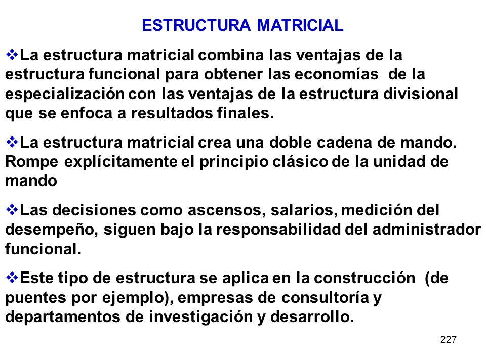 227 ESTRUCTURA MATRICIAL La estructura matricial combina las ventajas de la estructura funcional para obtener las economías de la especialización con