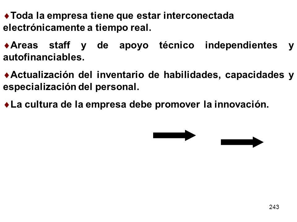 243 Toda la empresa tiene que estar interconectada electrónicamente a tiempo real. Areas staff y de apoyo técnico independientes y autofinanciables. A