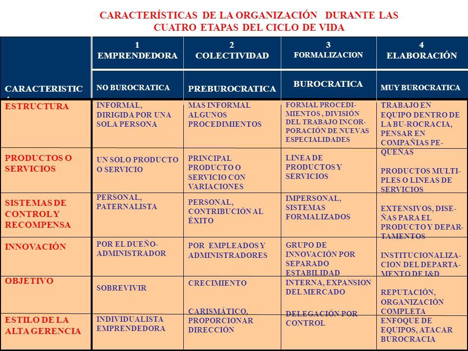 255 CARACTERISTIC A 1 EMPRENDEDORA NO BUROCRATICA 2 COLECTIVIDAD PREBUROCRATICA 3 FORMALIZACION BUROCRATICA 4 ELABORACIÓN MUY BUROCRATICA ESTRUCTURA P
