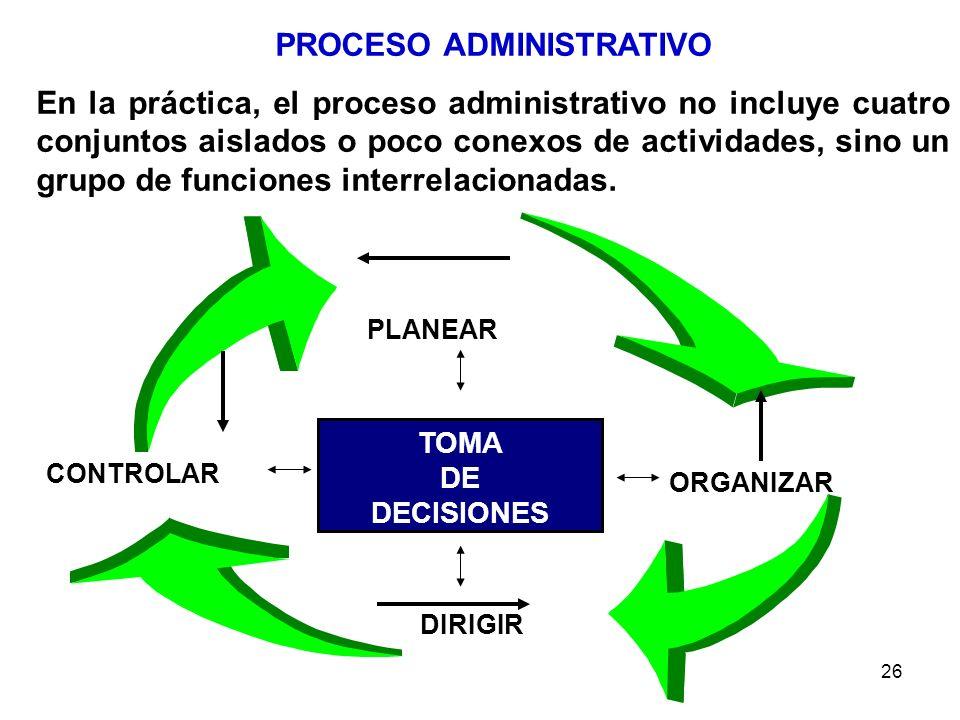 26 PROCESO ADMINISTRATIVO En la práctica, el proceso administrativo no incluye cuatro conjuntos aislados o poco conexos de actividades, sino un grupo
