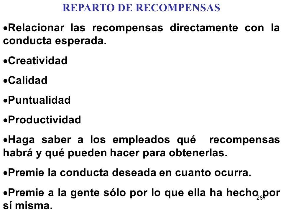 287 REPARTO DE RECOMPENSAS Relacionar las recompensas directamente con la conducta esperada. Creatividad Calidad Puntualidad Productividad Haga saber