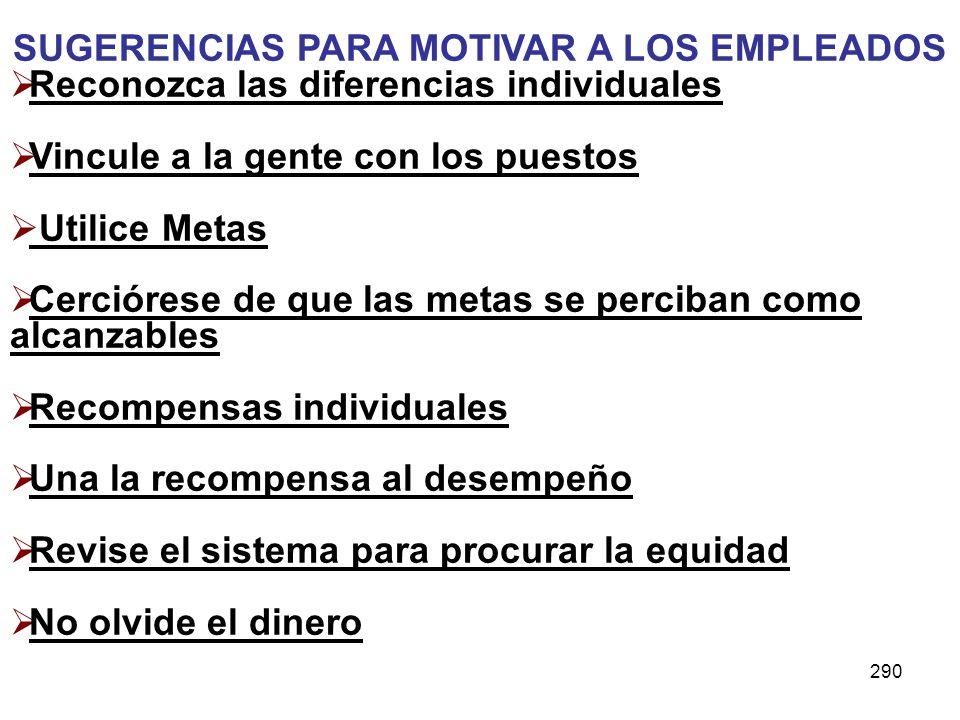 290 SUGERENCIAS PARA MOTIVAR A LOS EMPLEADOS Reconozca las diferencias individuales Vincule a la gente con los puestos Utilice Metas Cerciórese de que
