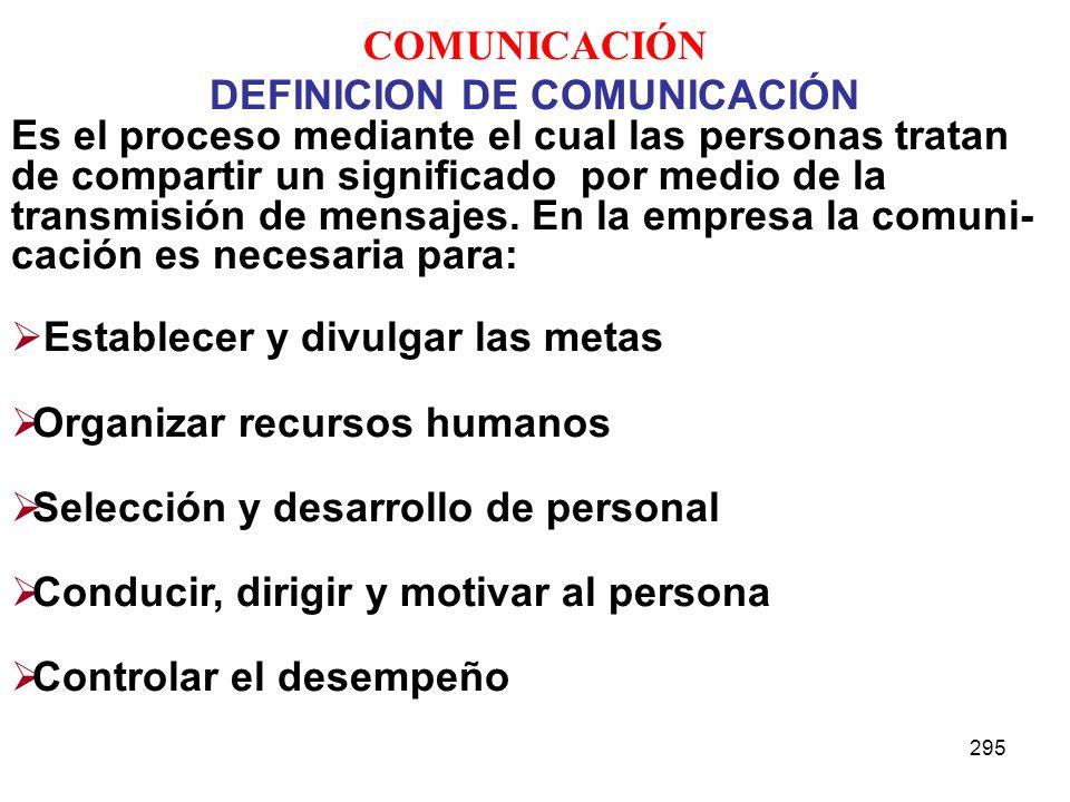 295 COMUNICACIÓN DEFINICION DE COMUNICACIÓN Es el proceso mediante el cual las personas tratan de compartir un significado por medio de la transmisión