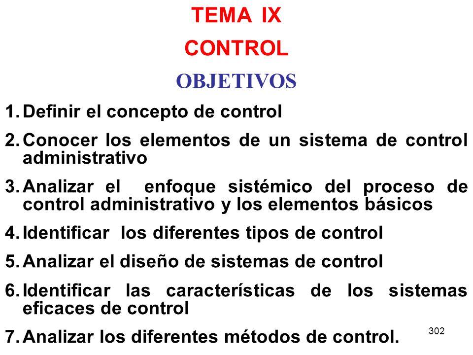 302 TEMA IX CONTROL OBJETIVOS 1.Definir el concepto de control 2.Conocer los elementos de un sistema de control administrativo 3.Analizar el enfoque s