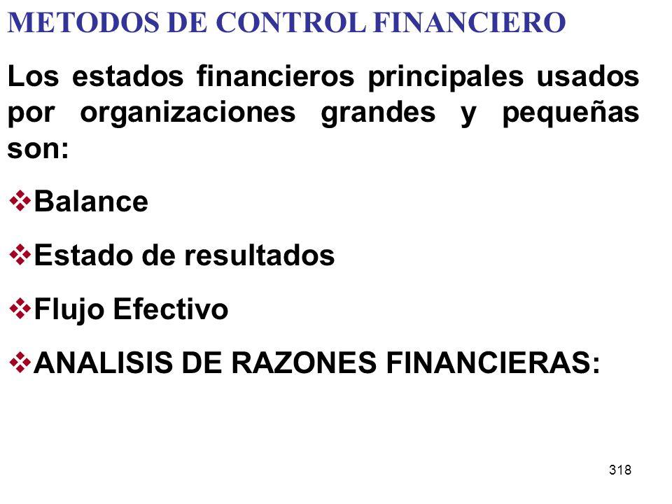 318 METODOS DE CONTROL FINANCIERO Los estados financieros principales usados por organizaciones grandes y pequeñas son: Balance Estado de resultados F