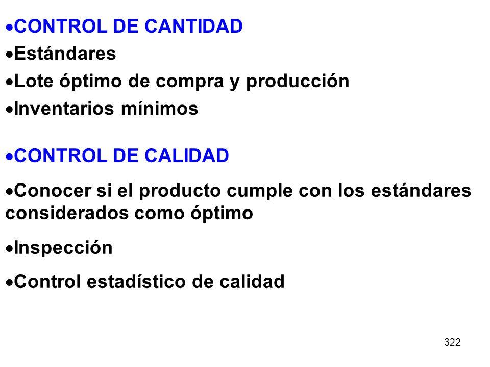322 CONTROL DE CALIDAD Conocer si el producto cumple con los estándares considerados como óptimo Inspección Control estadístico de calidad CONTROL DE