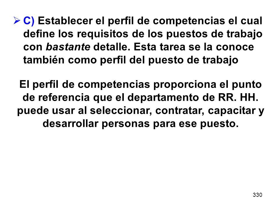 330 C) Establecer el perfil de competencias el cual define los requisitos de los puestos de trabajo con bastante detalle. Esta tarea se la conoce tamb