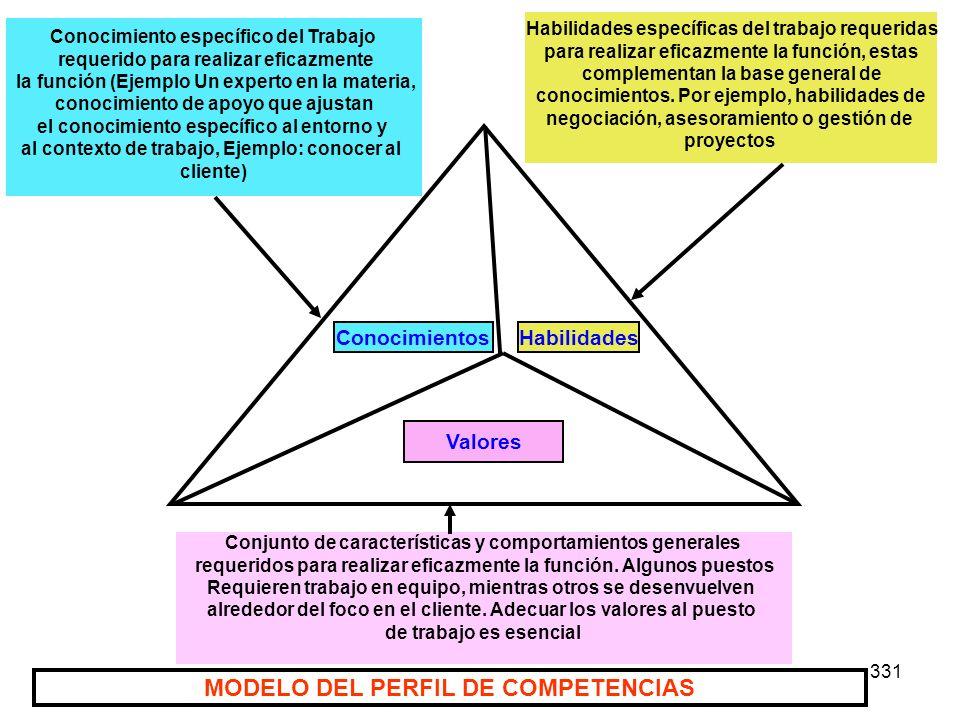 331 Valores ConocimientosHabilidades Conocimiento específico del Trabajo requerido para realizar eficazmente la función (Ejemplo Un experto en la mate