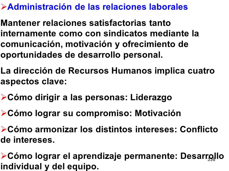 336 Administración de las relaciones laborales Mantener relaciones satisfactorias tanto internamente como con sindicatos mediante la comunicación, mot