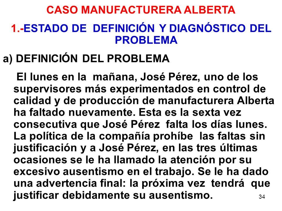 34 CASO MANUFACTURERA ALBERTA 1.-ESTADO DE DEFINICIÓN Y DIAGNÓSTICO DEL PROBLEMA a) DEFINICIÓN DEL PROBLEMA El lunes en la mañana, José Pérez, uno de